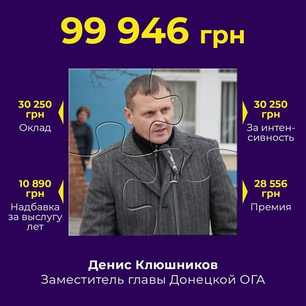 Зарплата замглавы Донецкой ОГА Дениса Клюшникова под сто тысяч. Он экс-прокурор из Горловки