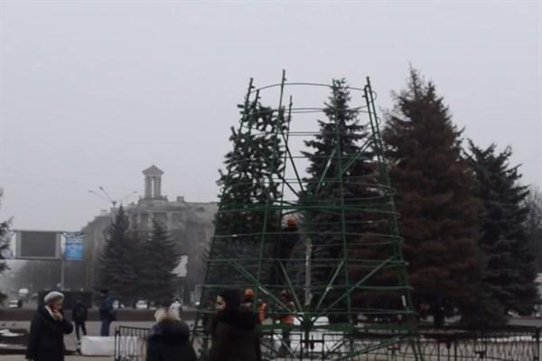 Сегодня в Горловке начали установку городской елки