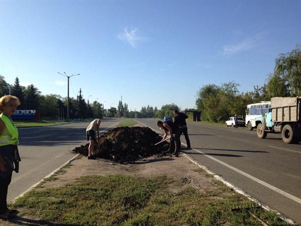 В Горловке водителя автобуса, который ездил по газонам, заставили перекопать их и засеять заново
