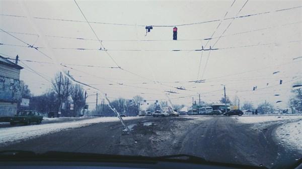 Зимняя Горловка: город занесло снегом